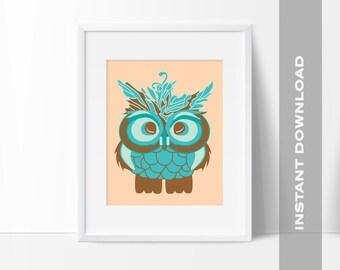 Baby Owl, Fluffy Owl Art Print, 8x10 Digital File, Instant Download