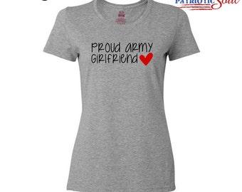 Proud Army Girlfriend Tshirt - Cotton Short Sleeved Shirt - Milso - Hooah
