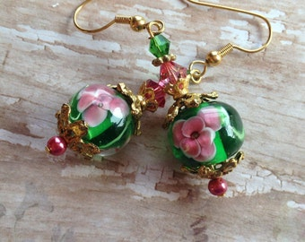 Green and Gold Earrings,  Floral Earrings, Lampwork Earrings, Glass Earrings, Flower Earrings, Lampwork Jewelry, Glass Jewelry, Glass Beads