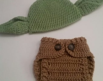Crochet Yoda Hat and Diaper Cover Set, Baby Yoda Hat, Baby Diaper