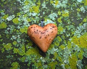 Burl wood - Heart Pendant - Hand Carved Black Cherry Burl Wood