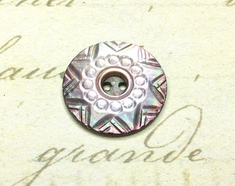 Small Antique Carved Shell Buttons 17 mm