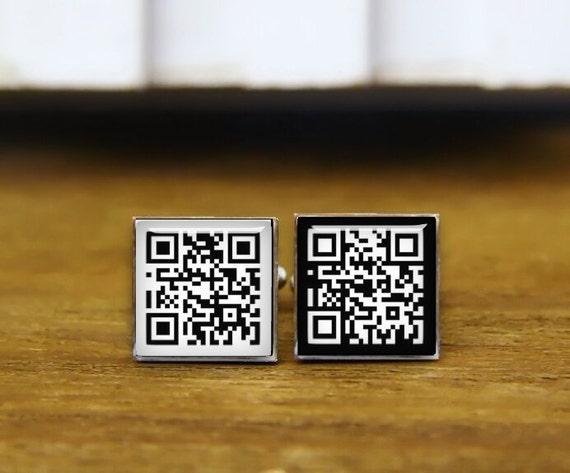 Barcode cuff links, QR Code cufflinks, custom name or date, Bar code cufflinks, square cuff links, tie clip, two dimensional code jewelrys