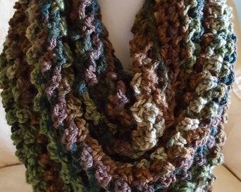 Infinity scarf, extra long infinity scarf, warm infinity scarf, multi infinity scarf in greens and browns