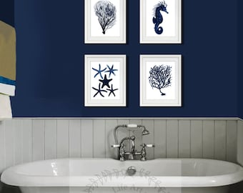 Navy Blue Wall Art coastal wall decor navy blue wall art set of 4 beach decor