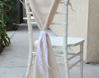 Champagne Chair Hoods for Chiavari Chairs, Champagne Chiavari Chair Drapes, Chair Caps | Champagne Wedding Chair Covers, Table Decor