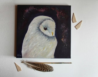 Owl and galaxy ORIGINAL canvas painting, acrylic art
