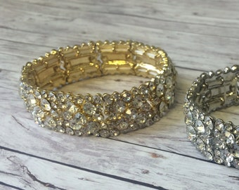 Rhinestone bracelet - Bridal jewelry in gold