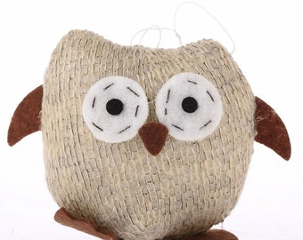 8.5cm Knitted Tawny Brown Fabric Owls Christmas Xmas Tree Decorations, Ornament Figurine Fabric