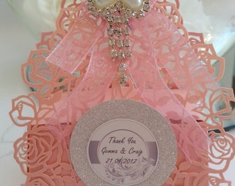 Personalised  pink wedding favour box chocolate filled and ready assembled