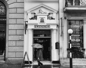 London Black and White Photography, Tea Shop, Twinings, London Decor, Fine Art Print, Travel Photo, England, Kitchen Decor, Wall Art