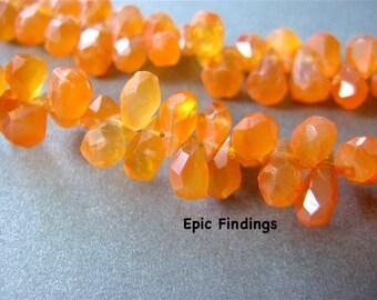 Sale!! Carnelian Faceted Teardrop Briolettes, Gemstone Briolette, 8 x 5mm Teardrop Beads, Gemstone Pendant, Orange Gemstone, Epic Findings