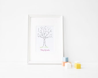 Baby Shower Thumbprint Tree Guestbook PINK
