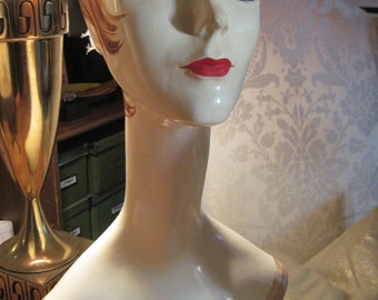 REDUCED Fantastic hand painted mannequin bust, 1960's