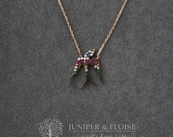 Martin Bird Necklace, Womens Necklace, 925 Silver Rose Gold plated Necklace, Fuchsia Zircon Bird Pendant, Rose Gold Necklace