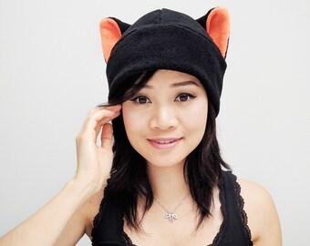 Black Cat Hat - Kitty Cat - Cat Fleece Hat - Cat Ears - Cat Ear Hat - Cat Toque Hat - Cat Cosplay - Anime Hat - Newborn Cat Hat - Prop Hat