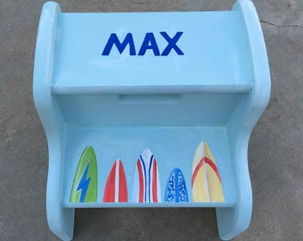 surfboard step stool, hand painted step stools, children's furniture