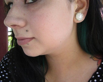 Faux Pearl with a border of Rhinestones on stainless steel Wedding EAR TUNNELS plug gauge 8g, 6g, 4g, 2g, 0g aka 3mm, 4mm, 5mm, 6mm, 8mm