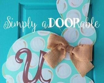 Easter Bunny Wood Door Hanger by Simply aDOORable. Monogram Easter Bunny, Easter Door Hanger, Easter Door Decor, Easter, Bunny Decor
