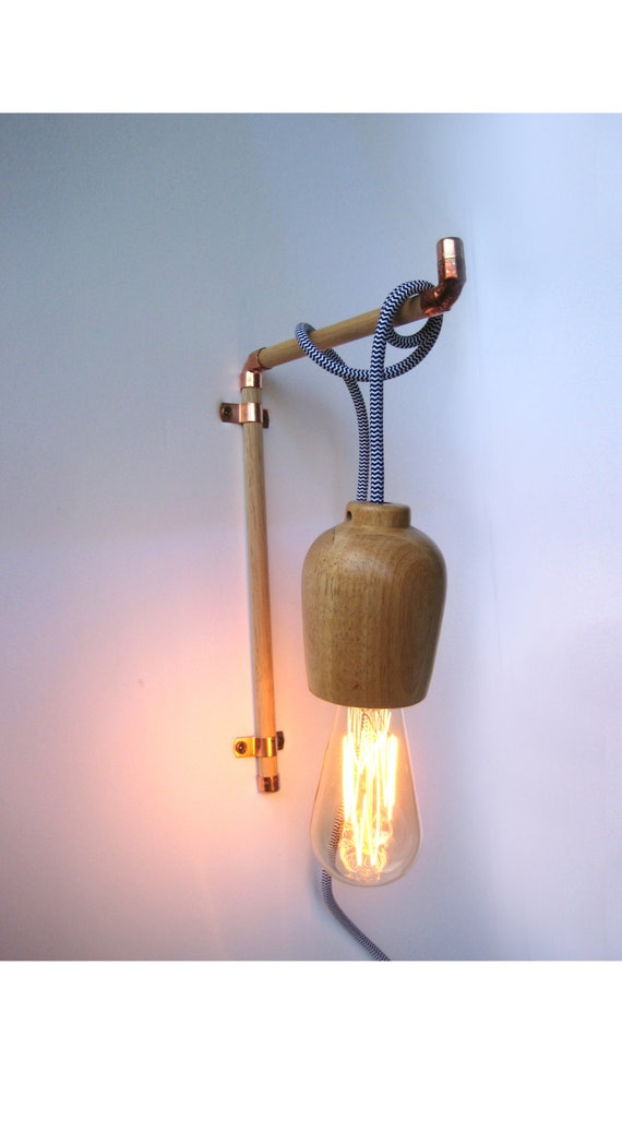 Wall Hooks For Hanging Lights : Copper Wooden Wall Hook Hanger for Pendant Light Tasminian