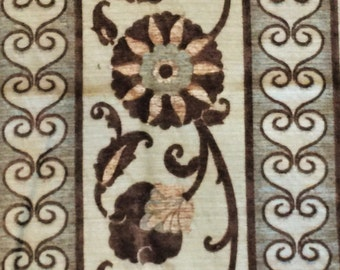 Beige Brown and Aqua Chenille Upholstery Fabric Remnant