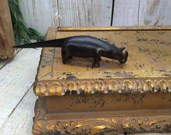 Rhino Figurine, Carved Rhinoceros, Rhinos, Wooden Rhino Decor, Black Rhino Art, African Animal, Safari Decor, Wood Rhino Figure