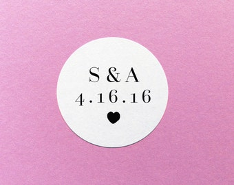 Initials Wedding Sticker, Custom Wedding Sticker, Personalised Wedding Label, Save The Date Stickers, Envelope Seals, Wedding Invite Labels