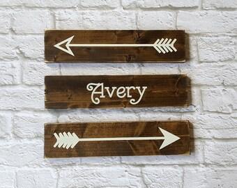 Custom Rustic Wooden Arrows - 3 PIece Set, Family Name, Nursery Decor, Wooden Arrow, Arrow Decor, Baby Room Decor, Wooden Arrow Wall Art