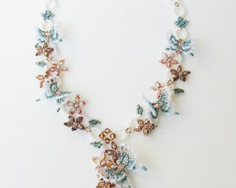 Beaded Butterfly Statement Necklace, Beaded Butterfly Jewelry, Beaded Flower Necklace, Beaded Woven Necklace, ネックレス / N-Butterfly Garden003