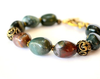 Beautiful Brown and Green Jasper Bead Bracelet, Chunky Jasper Beads Bracelet, Decor Beads with Beautiful Jasper Stone Beaded Bracelet