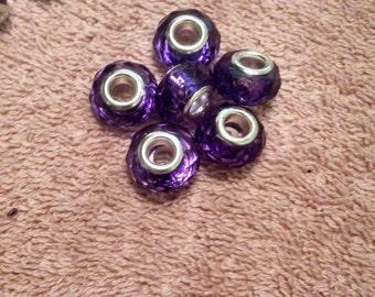 3 Styles Purple European Bracelet Beads