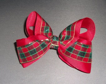 Cranberry with Red and Green Plaid Bow.