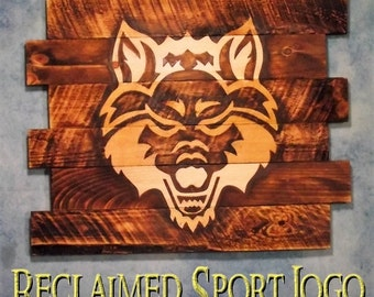 Arkansas State Red Wolves, FREE UV protector, 30X23, Team Signs, Burnt wall hanging, Shou Sugi Ban, Charred wood, Wood Sports sign, Rustic