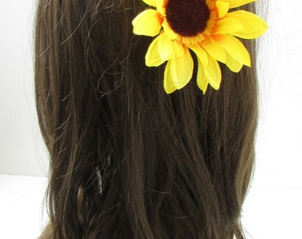 Large Yellow Sunflower Flower Hair Clip Vintage Rockabilly Fascinator Boho X-15