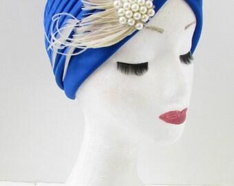 Blue & Ivory White Pearl Feather Turban Headpiece WW2 Vintage Turban 1940s Z24