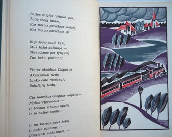 Lithuanian Kid's Book Block Print illustrations by Kastytis Juodikaitis Poetry by Salomeja Neris Lithuanian Language Book