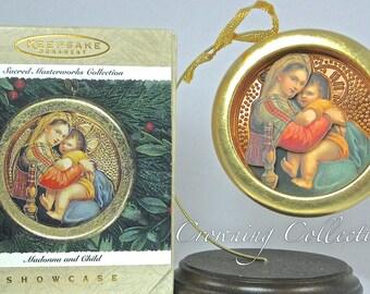 1996 Hallmark Madonna and Child Keepsake Ornament Nativity Holy Family Sacred Masterworks Collection Baby Jesus Mary Religious Vintage