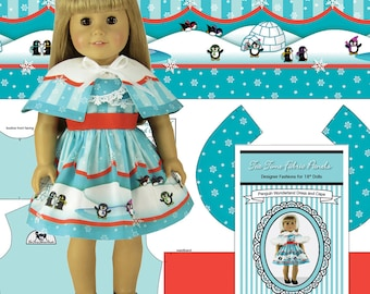 """18"""" Doll Clothes Kit, """"Penguin Wonderland"""" Dress and Cape - by Tea Time Fabric Panels - Fabric, Sewing Guide and Notions Included"""