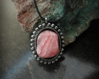 Beautiful Healing Pink Rhodocrosite Stone pendant necklace