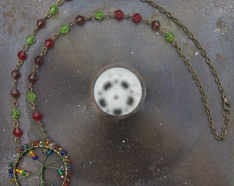 Tree of Life Necklace With Multicoloured Beads