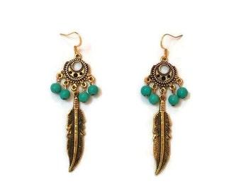 Gold Boho Earrings - Long Gold Earrings - Gold And Turquoise Earrings - Long Turquoise Earrings - Boho Earrings - Gold Earrings - Earrings