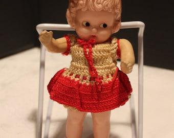 Vintage Knickerbocker Plastic Molded Kewpie Doll, 1950s, Moveable Arms, Crochet Dress, Original Doll (V060)