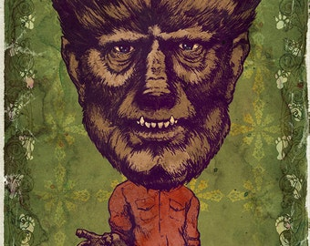 The Wolfman Lon Chaney Jr.  Art Print by award winning artist Brady Stoehr