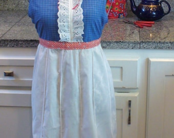 Full Apron, Vintage Material Apron, Check Apron, Blue, White, and Red Apron, Long Apron, Re-Purposed Apron, Ruffle Apron, MarjorieMae