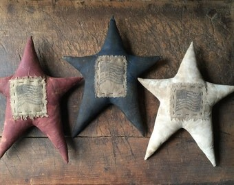 Set of 3 Americana Primitive Flag Red White Blue Patriotic Star Pillows Folk Art 4th of July