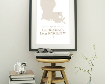 Custom Coordinates Printable: Personalized with any State, any Location, Silhouette of State, customize color
