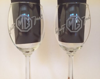 Vintage Set of Two MG British Automobile Wine Glasses