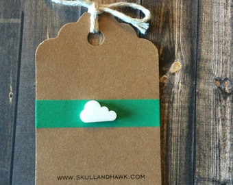 Tiny White Cloud Lapel Pin / Tie Tack - Laser Cut Acrylic - Small