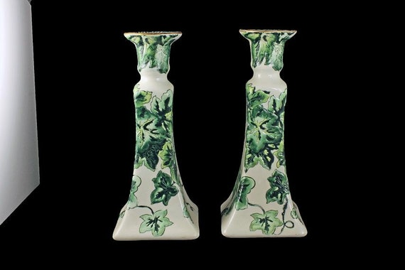Candle Holders, Candle Sticks, Set of 2, Ivy Pattern, Green and White, Made In China, Tall Candlestick Holders