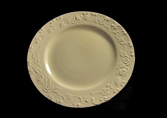 Plate, Homer Laughlin, OvenServe, Embossed, Ivory, Silver Trimmed